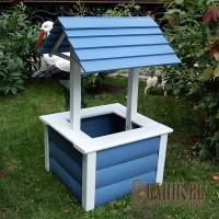 Деревянный колодец для сада (серо-голубой)