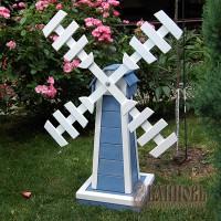 Деревянная мельница для сада (серо-голубая)