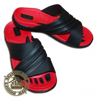 Тапочки резиновые (красный с черным)