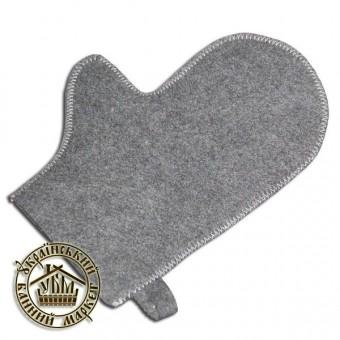 Рукавица для бани (серый искусственный войлок)
