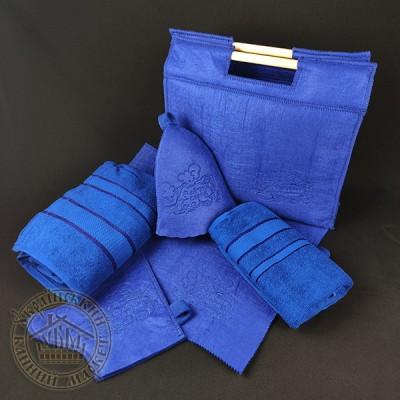 """Подарочный банный набор """"С легким паром"""" 6в1 (синий), фетр"""