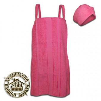 Набор для бани женский махровый (розовый)
