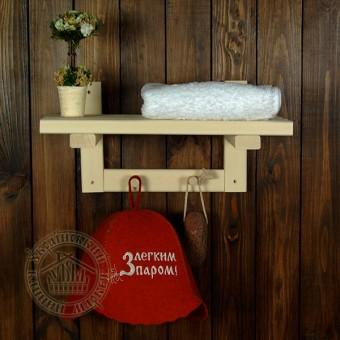 Полка деревянная настенная липовая (40 см + 4 крючка)