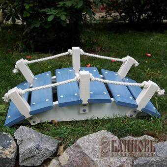 Деревянный мостик для сада (серо-голубой)