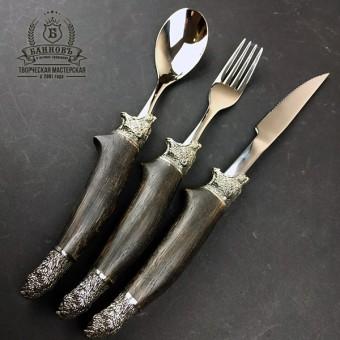 """Столовый набор """"Гризли"""" (ложка + вилка + стол. нож )"""