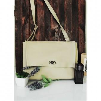 Женская сумочка из натуральной кожи бежевая Skins Beige
