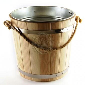 Ведро для бани, дуб со вставкой из оцинковки, 15 л