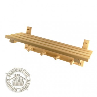 Полка деревянная настенная липовая (60 см + 4 крючка)