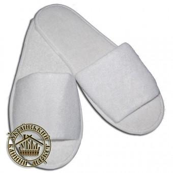 Тапочки махровые для гостиниц (открытые), белые